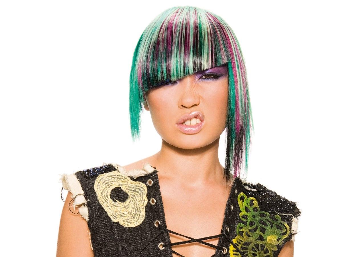Frisuren Farbe Bunt Mittellange Haare