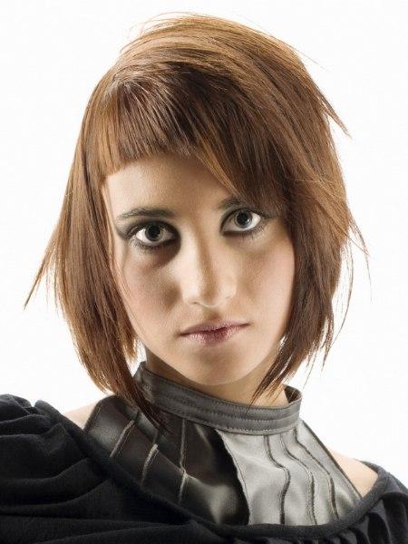 Asymmetrischer Schnitt Kreative Frisur Mit Asymmetrischem Pony Und